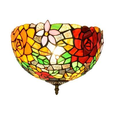 Floral Cut Glass Ceiling Flush Mount Victorian 2 Heads Brass Flush Mount Light Fixture