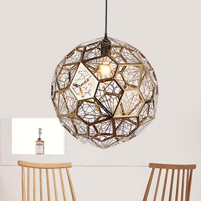 Globe Metal Suspension Light Rural 1 Bulb Restaurant Pendant Lamp in Silver/Gold, 10