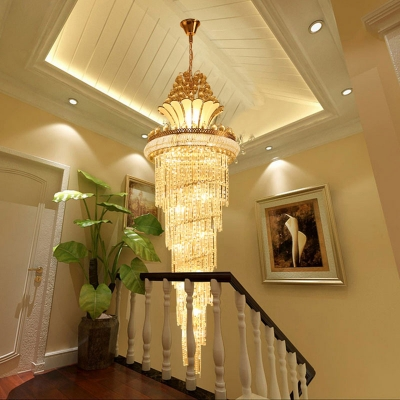 Gold 28 Heads Hanging Light Traditional Crystal Strand Swirl Chandelier Lighting