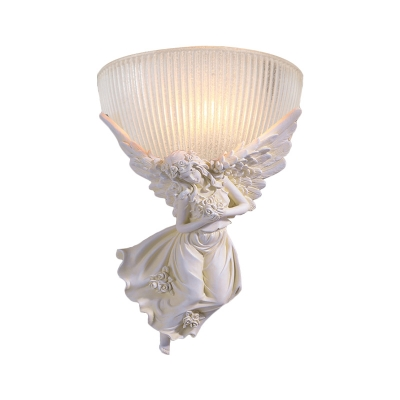 Gold/White Angel Wall Light Colonial Resin 10