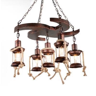 Lantern Metal Chandelier Lighting Farmhouse 5/7 Lights Living Room Pendant Light Kit in Bronze