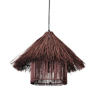 Modern House Shaped Rattan Pendant Light 1 Light Hanging Lamp in Coffee for Dining Room
