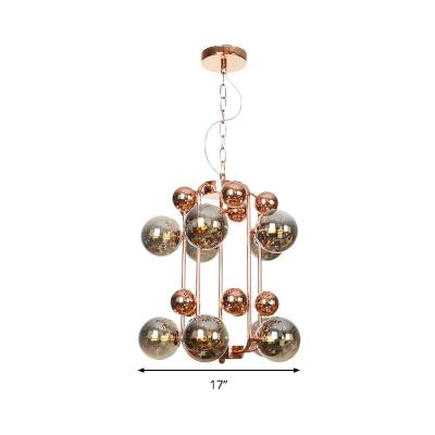 Modernist Globe Ceiling Chandelier Smoked Glass 10 Bulbs Living Room Hanging Light Fixture