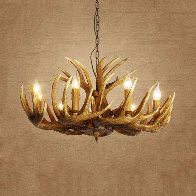 Traditional Antler Hanging Chandelier Resin 3/4/5 Bulbs Ceiling Suspension Lamp in Brown