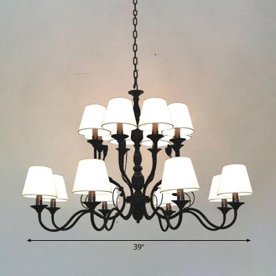Vintage Cuvry Arm Chandelier Lighting Metal 10/12/16 Bulbs Hanging Light Kit in Black