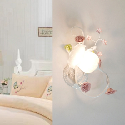 White/Pink 1 Light Wall Lamp Traditionalist Cream Glass Bloom Wall Mount Light for Bedroom, Left/Right