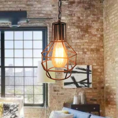 1 Light Metal Pendant Lighting Fixture Farmhouse Black/Rust Globe Shaped Living Room Hanging Lamp, HL575028
