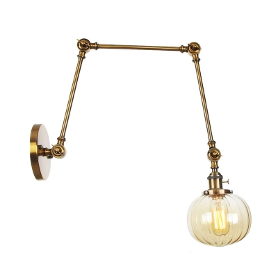 1 Light Wall Light Fixture Farmhouse Globe Clear/Amber Glass Sconce in Chrome/Black/Brass with Extendable Arm, 8