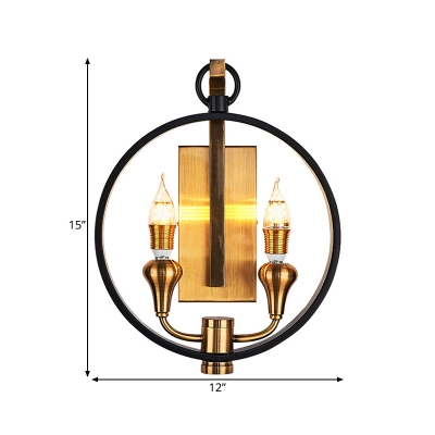2 Lights Wall Sconce Lamp Vintage Style Ring Shape Metal Wall Light with Open Bulb in Black for Corridor