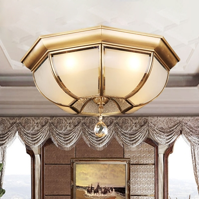 3/4 Bulbs Dome Ceiling Mount Traditional Brass Mouth Blown Opal Glass Flush Light Fixture for Living Room, 14