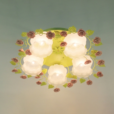 3/5 Bulbs Rose Ceiling Mount Countryside Pink/Green Mouth Blown Opal Glass Flush Light Fixture for Bedroom