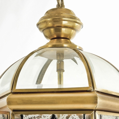 3 Bulbs Lantern Chandelier Lamp Colonial Brass Frosted Glass Hanging Pendant Light