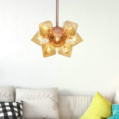 Amber Ribbed Glass Tapered Chandelier Lighting Contemporary 9/12 Heads Hanging Ceiling Light