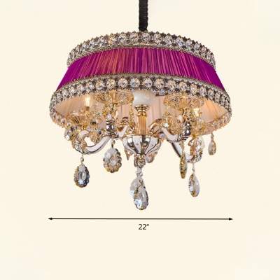 Candle Bedroom Chandelier Lighting Traditional Crystal Drop 5 Heads Purple/Blue Pendant Light Kit with Fabric Shade