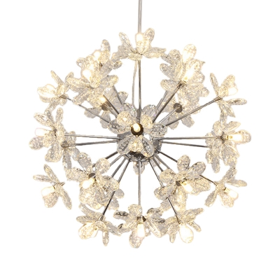 Chrome/Gold Floral Hanging Ceiling Light Contemporary 18/24/32 Lights 18