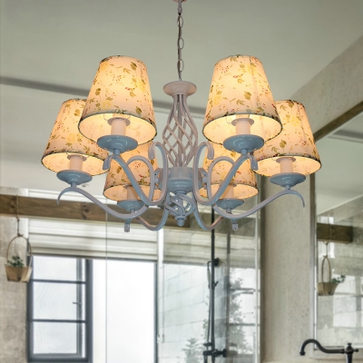 Cone Fabric Pendant Chandelier Traditionalist 6 Bulbs LED Bedroom Hanging Light in Light Blue