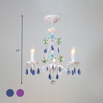 Crystal Blue/Purple Pendant Chandelier Candelabra 3/5/8 Lights Traditional Ceiling Hang Fixture for Living Room