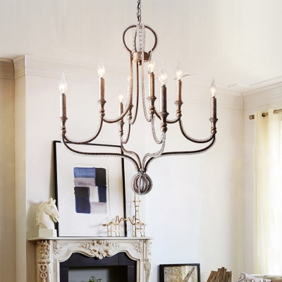 Crystal Candelabra Chandelier Lamp Countryside 8 Lights Living Room Hanging Ceiling Light in Aged Silver