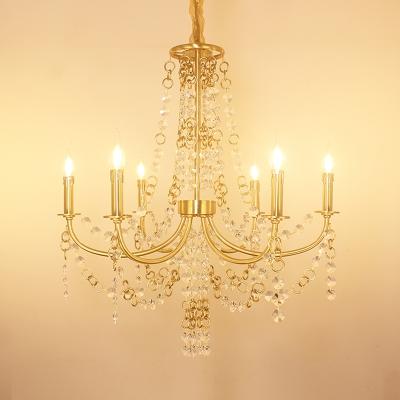 Crystal Candelabra Hanging Chandelier Traditional 6 Lights Living Room Drop Pendant in Gold