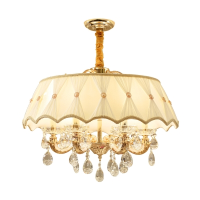 Fabric Beige Chandelier Light Fixture Scalloped 5 Heads Traditional Ceiling Light for Bedroom