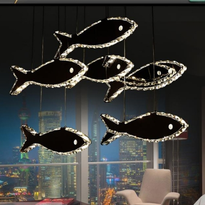 Fish Crystal Pendant Chandelier Modernism LED Chrome Hanging Ceiling Light in White/Warm Light