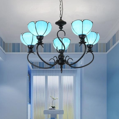 Flower Chandelier 3/5/6 Lights Blue/Blue and Clear Glass Tiffany Pendant Light for Living Room