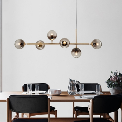 Globe Shaped Island Lamp Smoke Gray Glass 6 Lights Dining Room Pendant Lighting Fixture in Brass