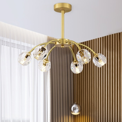 Gold 6 Heads Semi Flush Mount Traditional Faceted Crystal Sphere Ceiling Light Fixture, HL580546