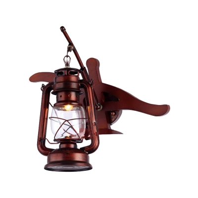Iron Lantern Shade Wall Sconce Lighting Industrial Style 1 Bulb Wall Light Fixture in Weathered Copper