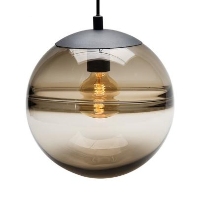Modern Globe Hanging Ceiling Light Blue/Coffee Glass 1 Head Dining Room Pendant Lighting, 8