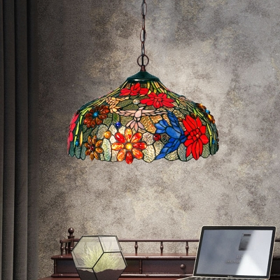 Petal Red/Yellow/Orange Stained Glass Chandelier Lamp Tiffany Stylish 3 Lights Bronze Ceiling Suspension Lamp