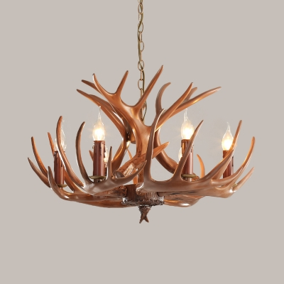 Resin Branch Hanging Chandelier Tradition 6/8 Heads Ceiling Suspension Lamp in Brown