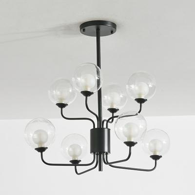 Sputnik Semi Flush Mount Lighting Contemporary Clear Glass 8 Lights Black/Gold Ceiling Light Fixture