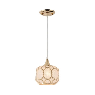 White 1 Head Pendant Light Traditional Plastic Globe/Dome/Flared Suspended Lighting Fixture for Dining Room