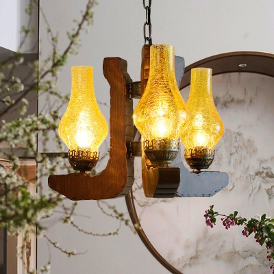 Yellow 3 Light Hanging Pendant Lights Rustic Wood and Glass Pendant Chandelier for Restaurant, HL560518