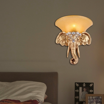 1 Bulb Flared Wall Sconce Lodge Style Yellow Glass Wall Lighting with Golden Elephant Design for Bedroom