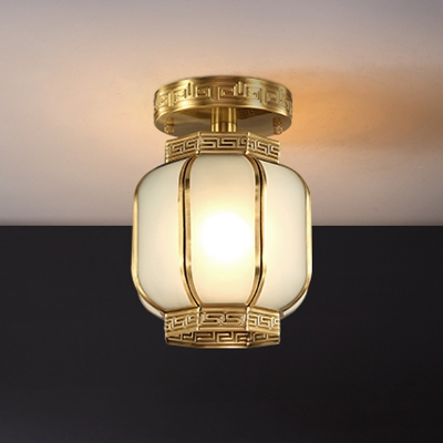 1 Bulb Lantern Ceiling Flush Mount Traditional Brass Metal Semi Mount Lighting with Satin Opal Glass Shade
