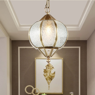 1 Bulb Sphere Pendant Lamp Colonial Gold Bubble Glass Hanging Light Fixture for Dining Table