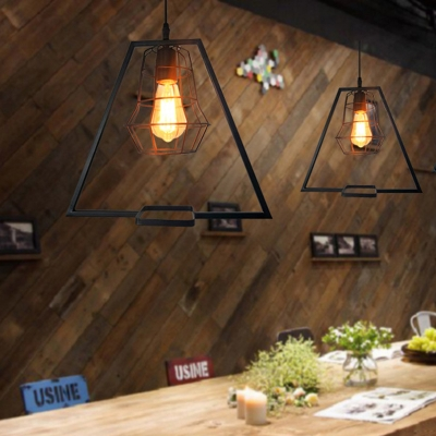 1 Light Cage Ceiling Pendant Vintage Black Metal Hanging Light with Trapezoid Frame, HL575022