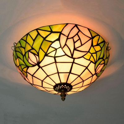 2 Lights Bloom Ceiling Lighting Tiffany Bronze Stained Glass Flush Mount Light for Living Room