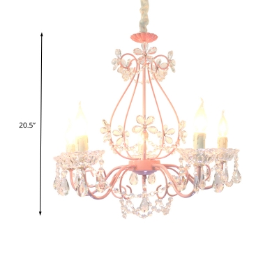 3/5 Bulbs Candle Pendant Lamp Traditionalism Pink Crystal Chandelier Light Fixture for Bedroom