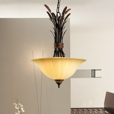 3 Heads Wide Flare Chandelier Light Tradition Beige Frosted Glass Ceiling Suspension Lamp