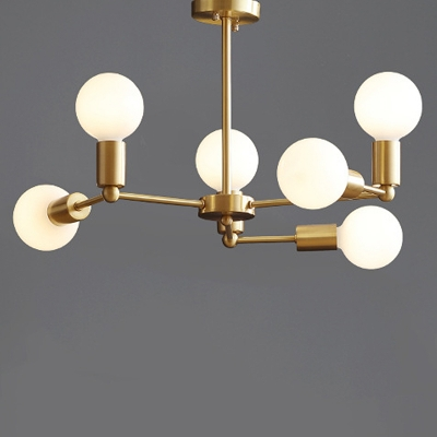 Angle Adjustable Branch Ceiling Chandelier Mid Century Style Satin Brass Hanging Lamp