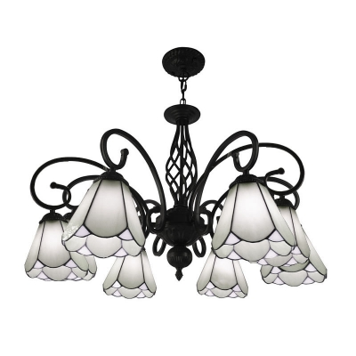 Arched White/Blue Glass Ceiling Chandelier Tiffany Style 3/5/6 Lights Black Pendant Lighting Fixture for Bedroom