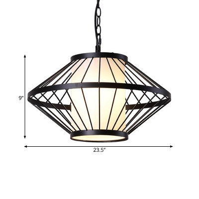 Black 1 Bulb Hanging Lamp Traditional Iron Lantern Cage Ceiling Pendant Light, 16