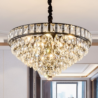 Black Tapered Chandelier Light Fixture Traditional Teardrop Crystal 6 Heads Bedroom Hanging Ceiling Light Beautifulhalo Com,Navy Blue Accent Wall Living Room Ideas