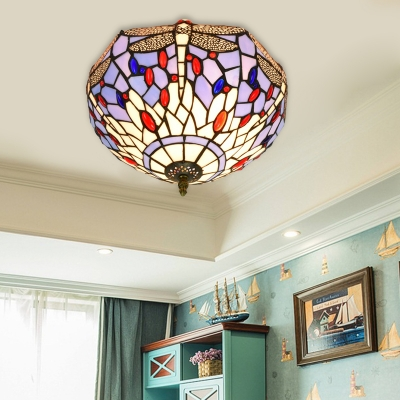 Brass 2 Bulbs Ceiling Mount Light Fixture Tiffany Hand Rolled Art Glass Dragonfly Flush Mount Lighting