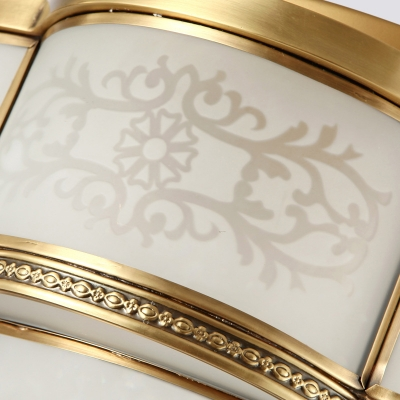 Brass LED Flush Mount Lamp Traditionalism Sandblasted Glass Scalloped Ceiling Fixture with Crystal Ball
