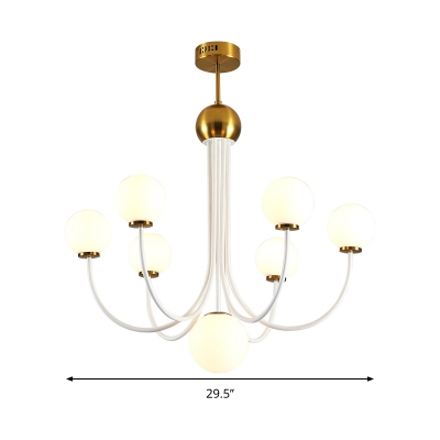 Bubble Hanging Chandelier Modernist White Glass 5/7 Heads Gold Pendant Light Fixture with Curved Metal Arm