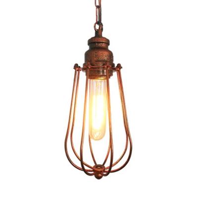 Caged Living Room Ceiling Lamp Industrial Metal 1 Light Black/Rust Hanging Pendant Light, HL575032